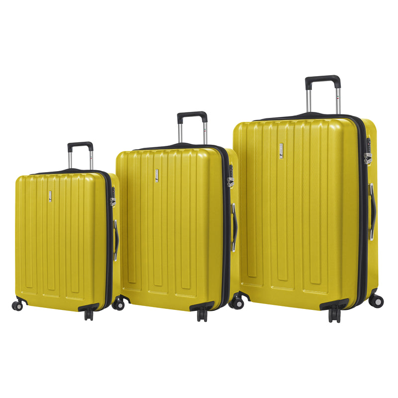 Mia Toro ITALY Primario Hardside Spinner Luggage 3PC Set - Strong Suitcases-Vegan Luggage