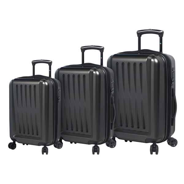 Mia Toro ITALY Moderno Lucido Hardside Spinner Luggage 3PC Set - Strong Suitcases-Vegan Luggage