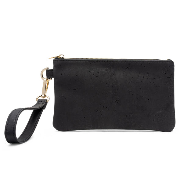 White Rhino Majestic Black Cork Vegan leather and Eco friendly Wristlet