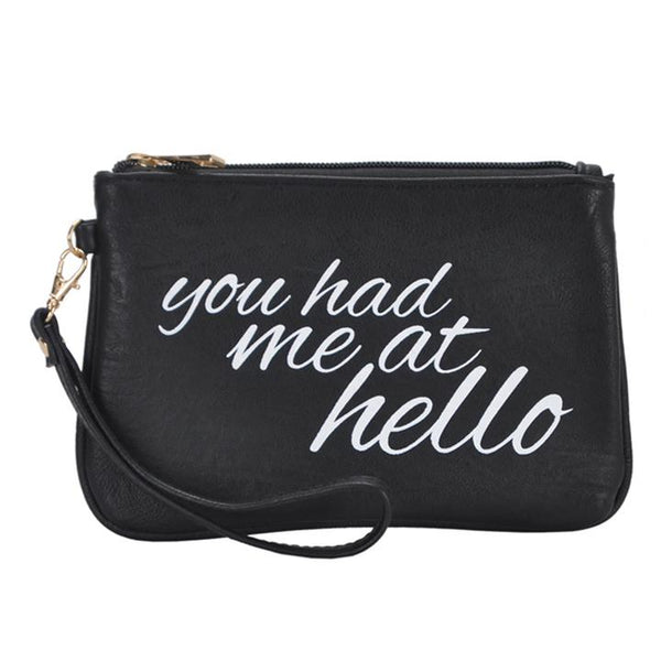 Mechaly Women's Slogan 'You had me at Hello' Black Vegan Leather Wallet