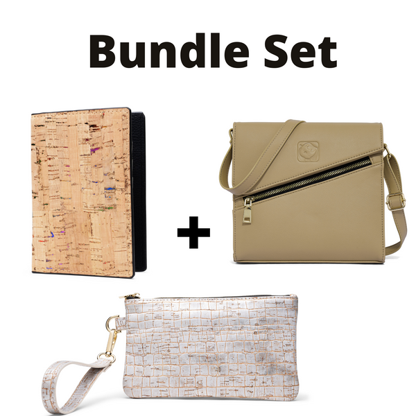 White Rhino Shoulder bag+ Wristlet+ Passport Wallet Bundle Set