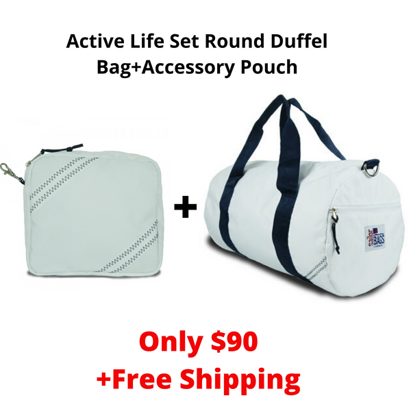 SailorBags Active Life Set Vegan Round Duffel Bag+Accessory Pouch