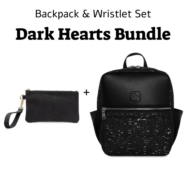 White Rhino Dark Hearts Bundle Backpack & Wristlet Set