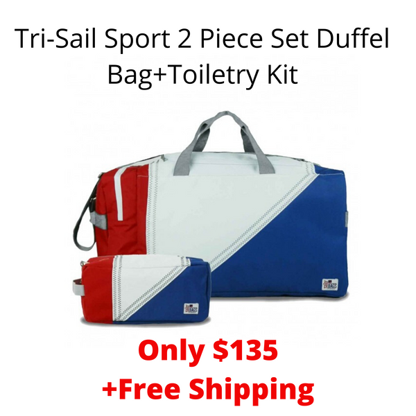 SailorBags Tri-Sail Sport 2 Piece Set Duffel Bag+Toiletry Kit