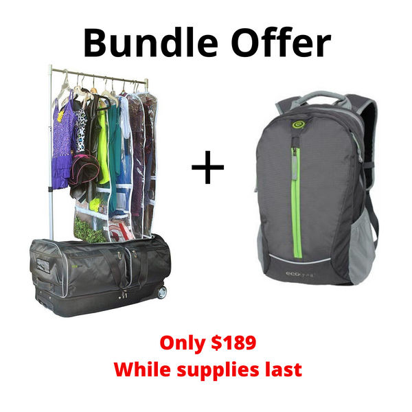 "Bundle Offer Ecogear 28"" Wheeled Duffel w/ Garment Rack+ Backpack"