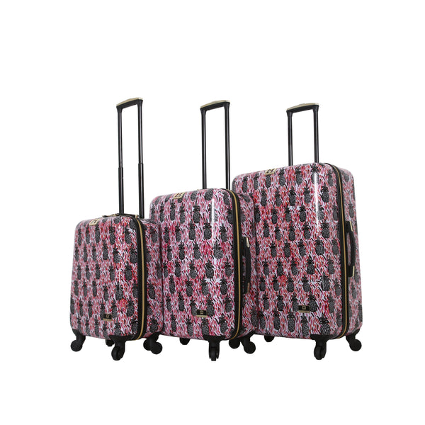Halina Bouffants & Broken Hearts Pineapples 3 Piece Luggage Set - Strong Suitcases-Vegan Luggage