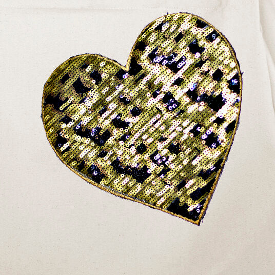 Vine Street Market Leopard Heart Sequin Large Canvas Tote