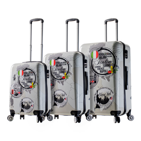 Mia Viaggi Italy World Icon Hardside Spinner 3Pc Set - Strong Suitcases-Vegan Luggage
