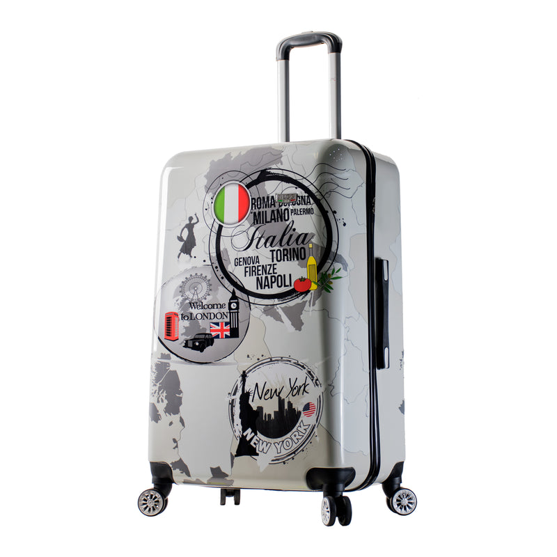 Mia Viaggi Italy World Icon Hardside 28 Inch Spinner Luggage Carry on - Strong Suitcases-Vegan Luggage