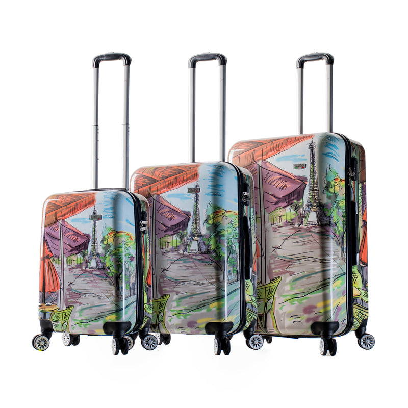 Mia Viaggi Italy Eiffel Tower Hardside Spinner 3Pc Set - Strong Suitcases-Vegan Luggage
