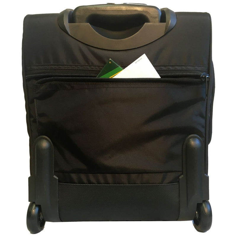 "A. Saks 17"" Under-The-Seat Overnight Upright Expandable Computer Rollaboard w/USB Port"