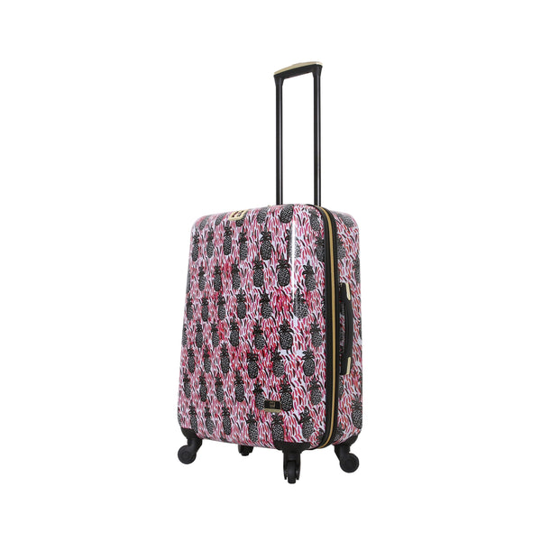 "Halina Bouffants & Broken Hearts Pineapples 24"" Carry on Spinner Suitcase - Strong Suitcases-Vegan Luggage"
