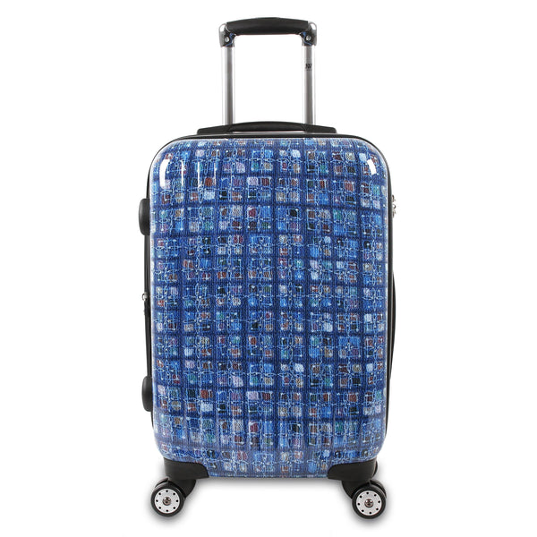 "J World New York 20"" Expandable TITAN Polycarbonate Carry on ART+Free Duffel Bag - Strong Suitcases-Vegan Luggage"