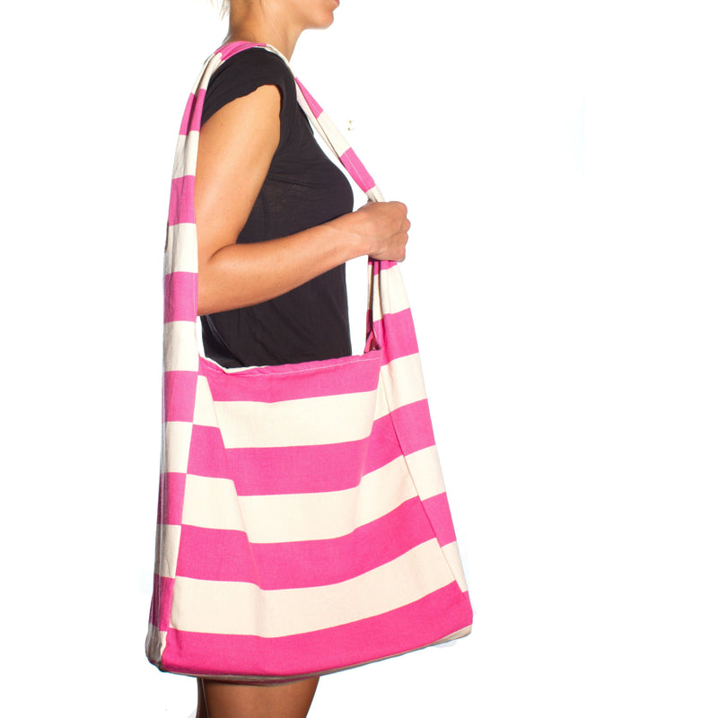 Vine Street Market USA Pink Wide Stripe Large Canvas Fashionable Shoulder Bag Carryall Tote - Strong Suitcases-Vegan Luggage
