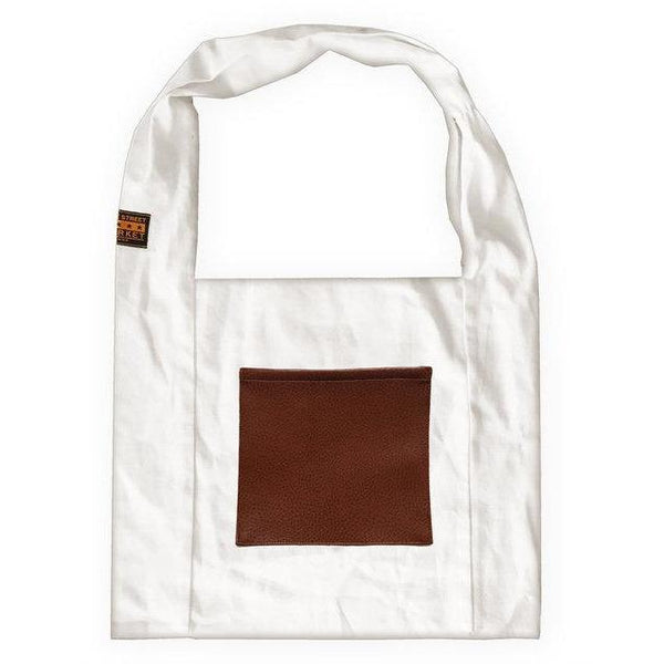 Vine Street Market USA White Linen Everyday Carryall Shoulder Tote with Tan Vegan Leather Pocket - Strong Suitcases-Vegan Luggage