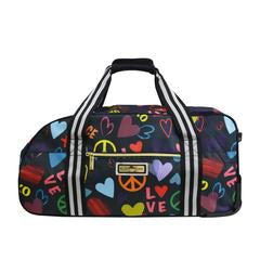 Mia Toro ITALY LOVE & PEACE Rolling duffel with Designer Art - Strong Suitcases-Vegan Luggage
