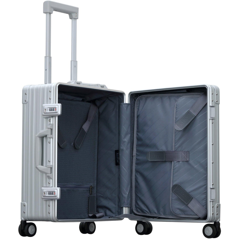 "Aleon 21"" Carry-On with Suiter Aluminum Hardside Luggage (Platinum) Silver Free Shipping - Strong Suitcases-Vegan Luggage"