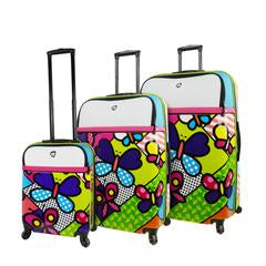 Mia Toro ITALY M by Mia Toro-Butterflies Hybrid Hardside Spinner Luggage 3PC Set - Strong Suitcases-Vegan Luggage