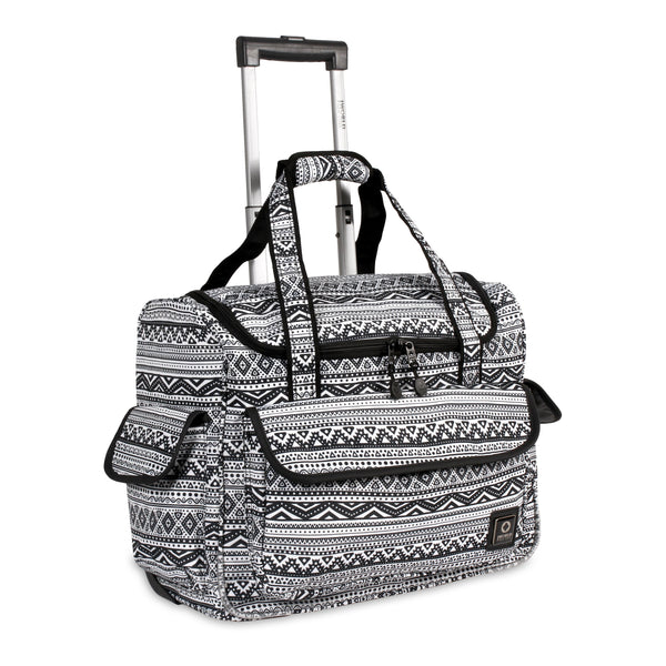J World New York DONNA Travel Rolling Tote Underseat Carry On Bag+Free Bag - Strong Suitcases-Vegan Luggage