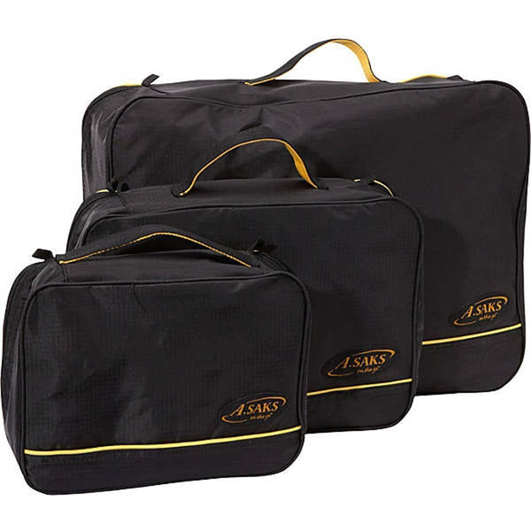 A. Saks Lightweight 3 Piece Packing Travel Luggage Cube Set - Strong Suitcases-Vegan Luggage