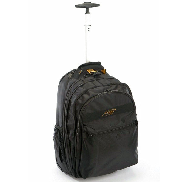 A. Saks DXL Work or School Expandable Black Wheeled Laptop Backpack - Strong Suitcases-Vegan Luggage