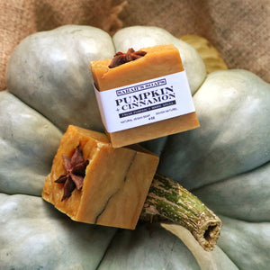 a close up shot of two orange bars of soap sitting on top of a green blue pumpkin