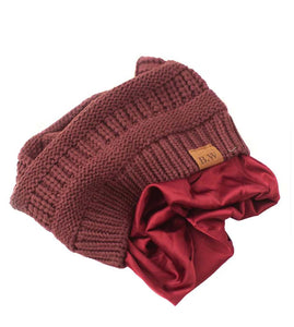 Winter Hat | Satin Lined | Natural Hair Burgundy Beanie - Beautifully Warm, LLC