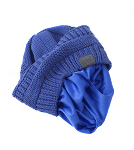 Winter Hat | Satin Lined | Natural Hair | Royal Blue Beanie - Beautifully Warm, LLC