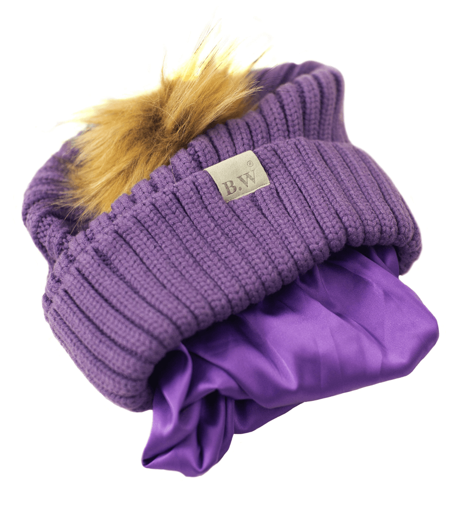 Winter Hat | Satin Lined | Natural Hair | Violet Pom Pom
