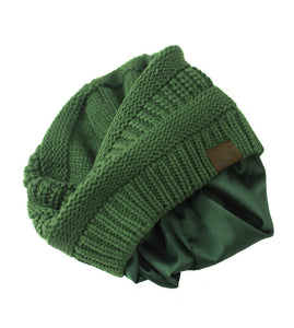 Winter Hat | Satin Lined | Natural Hair | Forest Green Beanie - Beautifully Warm, LLC