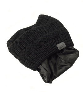 Winter Hat | Satin Lined | Natural Hair | Black Beanie - Beautifully Warm, LLC
