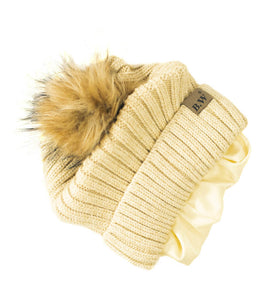 Winter Hat | Satin Lined | Natural Hair | Biege Pom Pom - Beautifully Warm, LLC