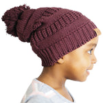 Satin Lined Winter Hats for Toddlers | Beanie | Children Hat | Burgundy - Beautifully Warm, LLC
