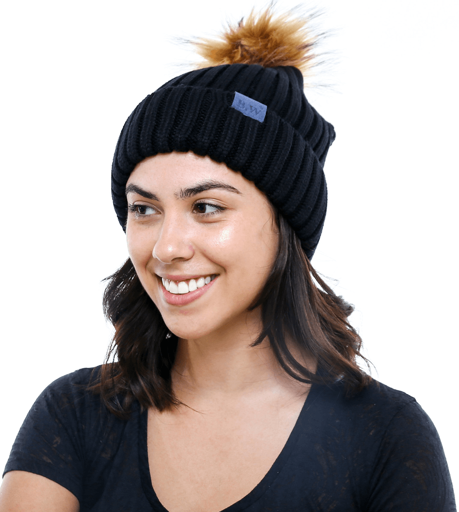 Winter Hat | Satin Lined | Natural Hair | Black Pom Pom