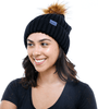Winter Hat | Satin Lined | Natural Hair | Black Pom Pom - Beautifully Warm, LLC