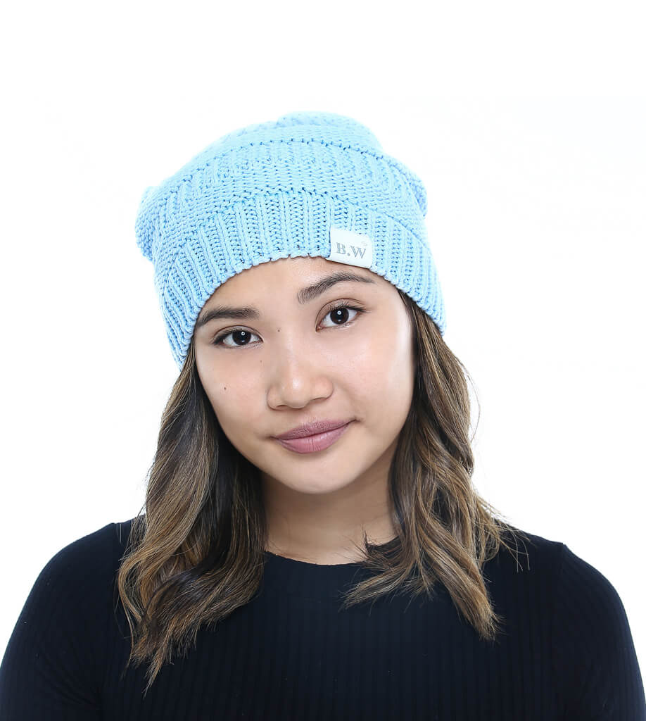 Winter Hat | Satin Lined | Natural Hair | Light Blue Beanie