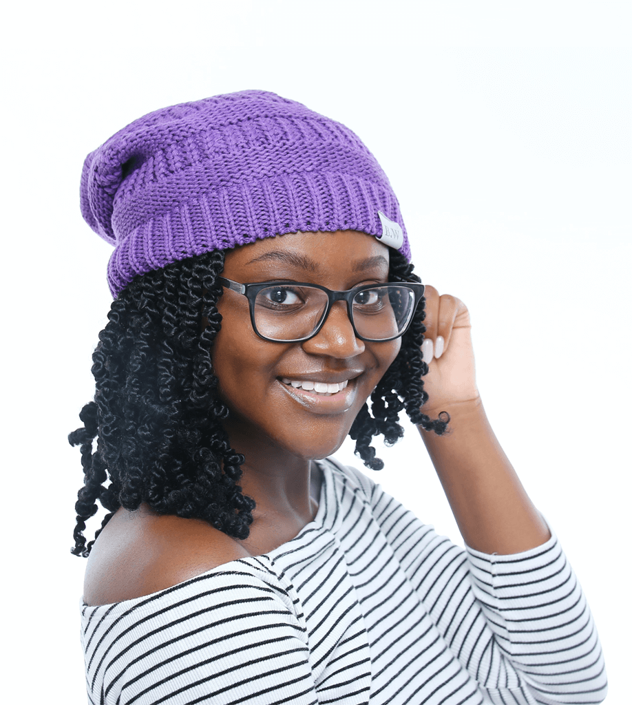 Winter Hat | Satin Lined | Natural Hair | Ultra Violet Beanie