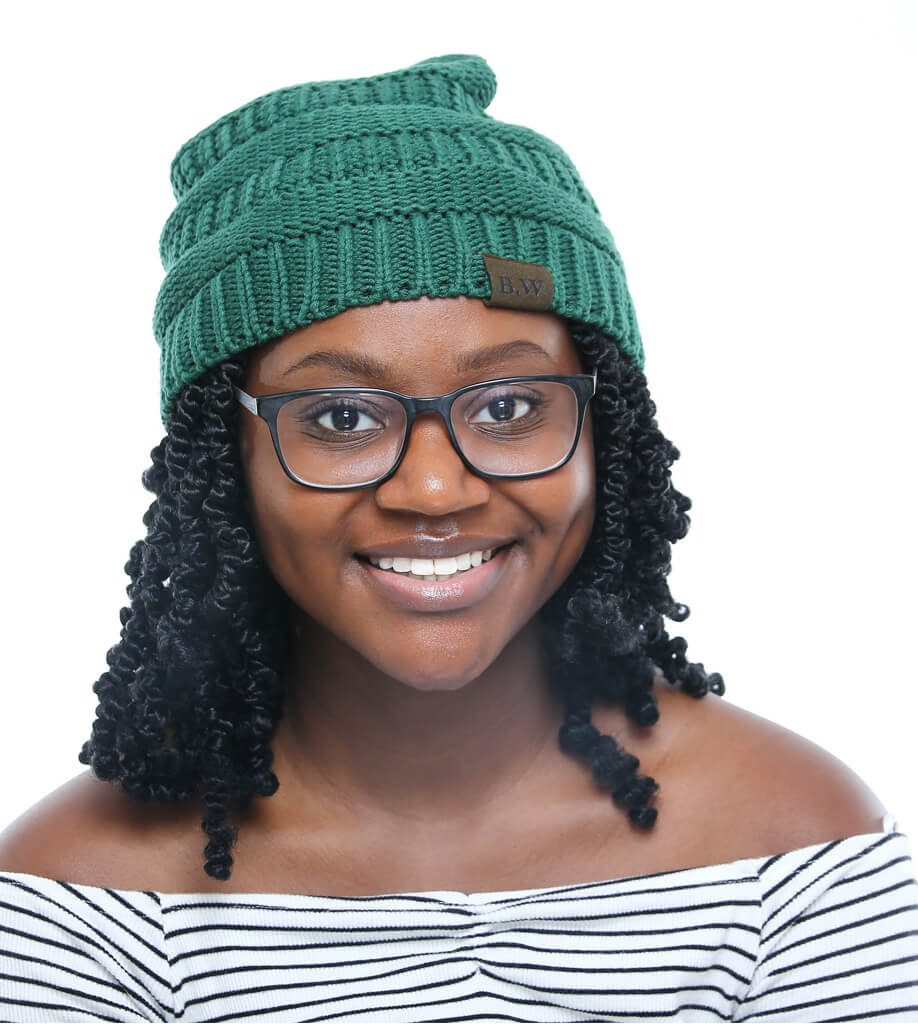 Winter Hat | Satin Lined | Natural Hair | Forest Green Beanie