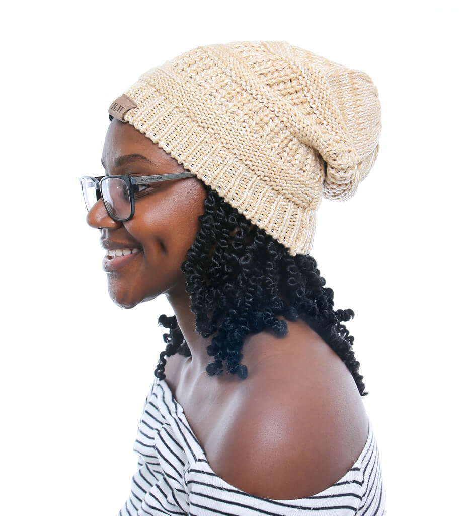 Winter Hat | Satin Lined | Natural Hair Beige - Beautifully Warm, LLC
