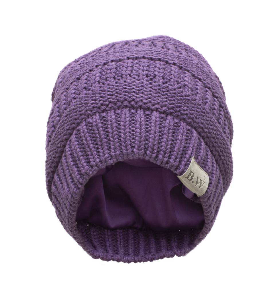 Winter Hat | Satin Lined | Natural Hair | Ultra Violet Beanie - Beautifully Warm, LLC