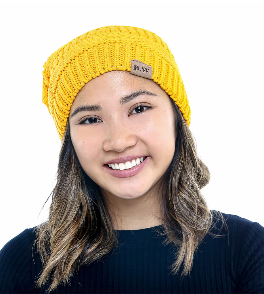 Winter Hat | Satin Lined | Natural Hair Super Warm | Yellow Beanie