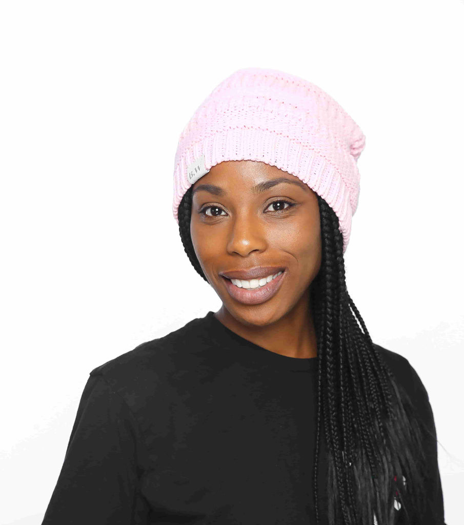 Winter Hat | Satin Lined | Natural Hair | Pink Beanie