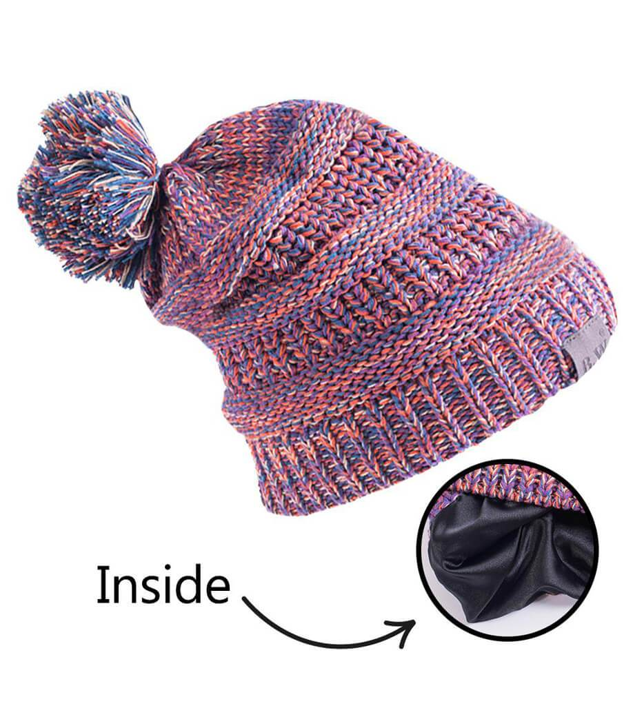 Satin Lined Winter Hats for Toddlers | Children | Orange Purple Mix - Beautifully Warm, LLC