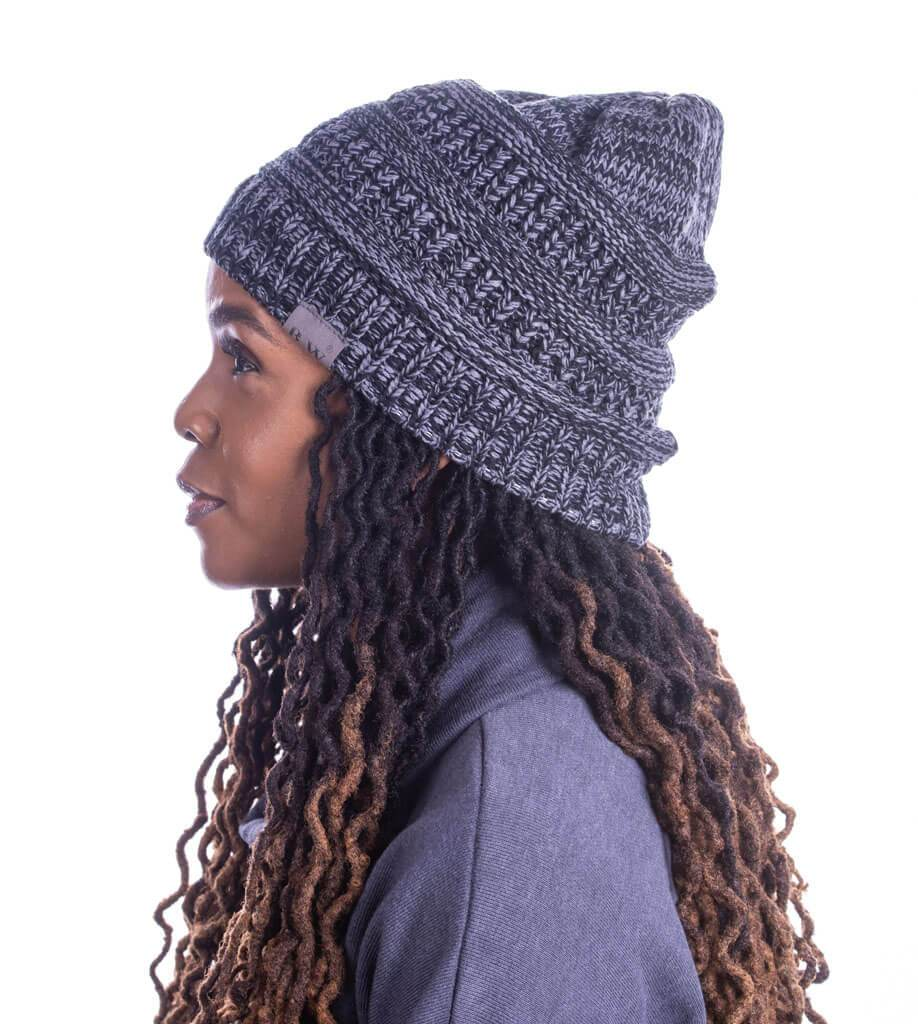 Winter Hat | Satin Lined | Natural Hair Charcoal Beanie - Beautifully Warm, LLC