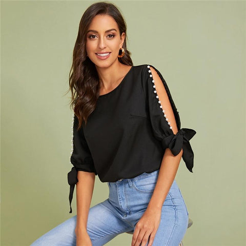 Beading Side Knot Top - Black - Infinitress
