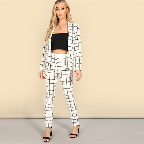 Gridlock Cigarette Blazer And Pants Set - Infinitress