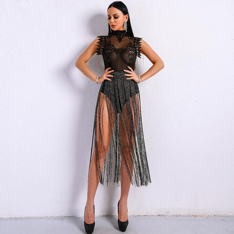 Lace Fringe Dress - Black - Infinitress