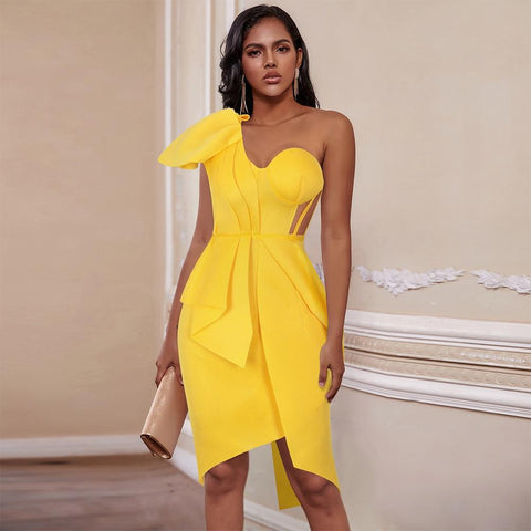 Ruffled Yellow One Shoulder Bodycon Dress - Infinitress