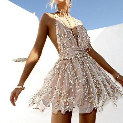 Sequined Halter Mini Dress - Beige - Infinitress