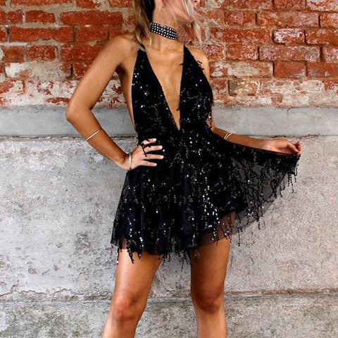 Sequined Halter Mini Dress - Black - Infinitress